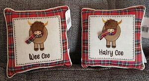 Highland Cow Cushion Scottish Wee Coo Hairy Coo Red Tartan Applique Mini Cushion