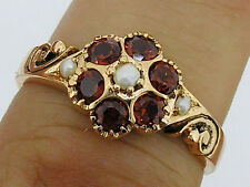 R135 Genuine 9ct Solid Yellow Gold Natural Garnet & Pearl Blossom Ring size N