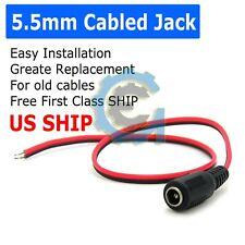 DC Power Jack Adapter Plug Female Pigtails 5.5mm x 2.1mm 30cm/12in 12V Port