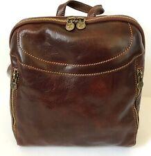 NWT** ALESSIA ** 100% Genuine Leather Handmade Backpack---DARK BROWN
