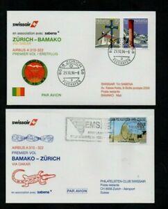 1996. SWISSAIR. 2xDIFFT ILLUS FIRST FLIGHT COVERS. ZURICH-BAMAKO & RETURN FLIGHT