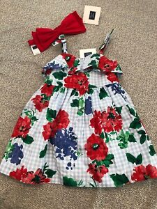 NWT Janie and Jack girl 2-piece red floral SUMMER dress bow SET 3 6 9 12 month