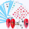 Full Wrap Nail Art Water Decals Stickers Christmas Snowflakes Gel Polish 30Pcs