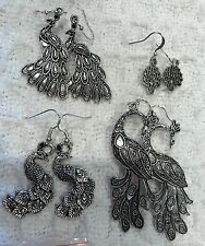 Lot of 10 Pair-Silvertone PEACOCK EARRINGS-4 Styles-Bird-Dangle-HAND-MADE--NEW