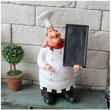 Restaurant Kitchen Chef Figurine with Chalkboard Blackboard Counter Chef Statue