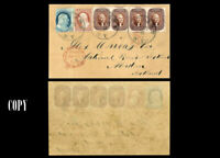 USA 1856  5¢  & ONE 1¢ Issue FULL COVER TO GREAT BRITAIN. LUXURY  COPY