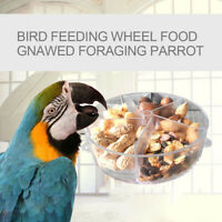 Transparent Parrot Bird Feeding Food Storage Case Foraging Wheel Gnawed Toys