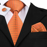 Classic Orange Mens Tie Plaids Checks Silk Necktie Set Jacquard Tie C-464