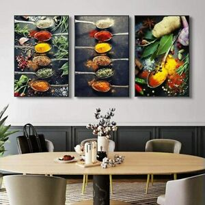 Colorful Spices Spoon Kitchen 3 Piece Canvas Print Wall Art Home Decor Cuadros
