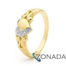 Diamond 9ct 9k Solid Yellow Gold Heart Ring Size P 7.75 22790