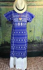 Blue & White Amuzgo Huipil Dress Hand woven Oaxaca Mexico Hippie Boho Cowgirl