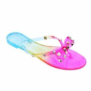 NEW Liliana Jelli-40 Rainbow Studded Bow Jelly PVC Sandal