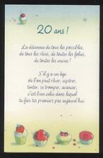 NEUF CARTE ANNIVERSAIRE 20 ANS + ENVELOPPE !! 10 CARTES ACHETEES = PORT GRATUIT