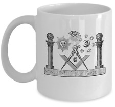Freemason coffee mug - Freemasonry old lodge symbol - Masonic brotherhood gift