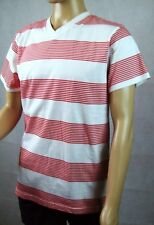 New Mens Southpole Striped Casual T-Shirt Tee - Red & White Top - Size L