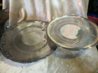 """2 silverplated serving platter/cake  Fb rogers 10' and K.S Shefield 11"""""""