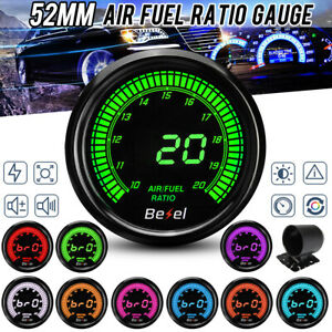 "2"" 52MM Racing Car 10 Color LED Digital Air Fuel Ratio Black Face Gauge"