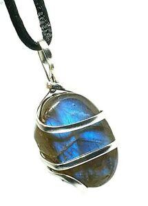 Labradorite Wire Wrapped Pendant Gemstone Tumble Transform Stone Cord Necklace