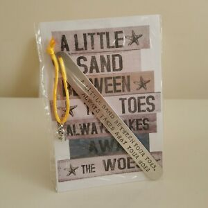 HANDMADE BOOKMARK HAND STAMPED GIFT SAND BETWEEN YOUR TOES TAKES AWAY YOUR WOES