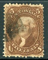 USA 1867 Jefferson 5¢ Red Brown F Grill Scott # 95 VFU J285 ⭐⭐⭐⭐⭐⭐
