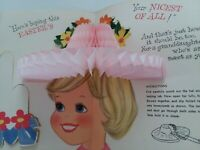 50-60s Vtg GIRL & DOLL Pink HONEYCOMB EASTER BONNET Granddaughter GREETING CARD