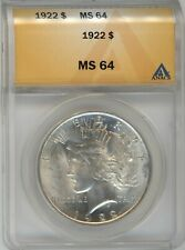 1922 ANACS MS-64 Silver PEACE Dollar ~ FANTASTIC LUSTER ~ 1c START