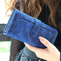 Long Wallet Faux Suede Woman Lady Purse Female Wallets Card Holder Clutch
