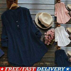 Womens Cotton Linen Long Sleeve Kaftan Blouse Shirts Pocket Long Tunic Tops Tees