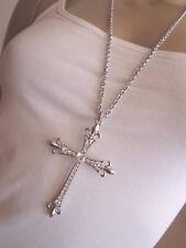Damen Hals Kette Modekette Modeschmuck lang Silber XL Anhänger Strass Kreuz k769