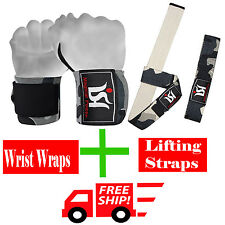 Gym Power Weight Lifting Wrist wraps Lifting Hand Bar Straps Training Squat Pair