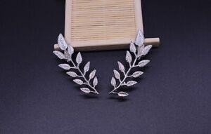 Unisex Fashion Pair Leaf Laurel Gold Collar Suit Shirt Blouse Neck Pin Brooch