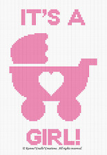 Crochet Patterns - IT'S A GIRL! BABY CARRIAGE Graph Chart PATTERN