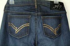 A7 Women's Jeans Embellished Boot Cut Gold Swarovski Size 29