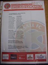 12/02/2011 COLORI teamsheet: Walsall V Bournemouth (piegato). grazie per la visualizzazione