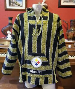 Mexican NFL Pittsburgh STEELERS Baja hoodie pullover sweater Large