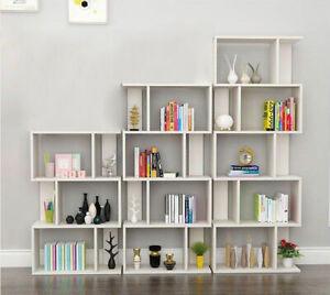 Storage Bookcase 3/4/5 Shelves Bookshelf S Shape Display Unit Home Furniture UK