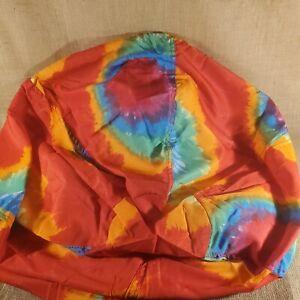 Vintage Ace Bayou Red Orange Rainbow Tie Dye Cotton Washable Bean Bag Chair New
