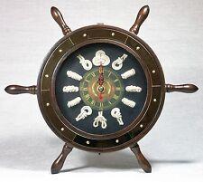 Ships Wheel Shaped Wall Clock w 12 diff Knots Wooden w Brass look trim LAST ONE