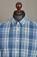 Men's LEVI'S Casual Shirt Long Sleeve Cotton Blue Checked Size L