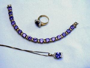 Bracelet Pendant Ring Set Sterling Silver Gold Tone Blue Purple Stones Estate
