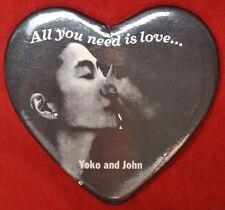 "JOHN LENNON and YOKO ""All you need is love…"" Heart Shaped Metal Pinback Button"