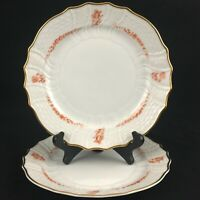 "Set of 2 VTG Salad Plates 7 7/8"" by Hutschenreuther Brocade Coral Germany"