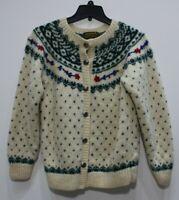 Eddie Bauer wool knit sweater jacket metal buttons floral womens Medium cardigan