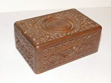 CARVED WOODEN BOX FLOWER DESIGN POSSIBLY INDIA / FAR EAST ORIGIN