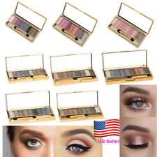 9 Colors Glitter Eyeshadow Eye Shadow Palette & Makeup Cosmetic Brush Set US