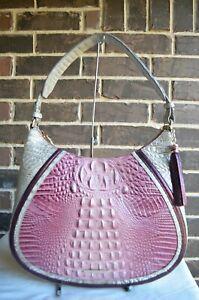 NWT $335 Brahmin Amira Shoulder Bag TEA ROSE MONTE CARLO pink silvery grey