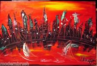 ORIGINAL OIL Painting Downtown City Stretched  IMPRESSIONIST EERTHE3