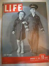 LIFE MAGAZINE JANUARY 11, 1943 KIDS UNIFORMS