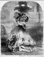 MOTHER'S DARLING, CHILDREN LITTLE GIRLS WITH THEIR MOTHER, 1866 ANTIQUE FASHION