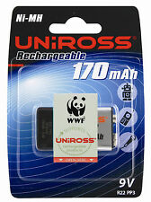 UNIROSS 9V R22 Size Ni-MH 170mah 1000x + RECHARGEABLE BATTERY